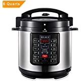 BILACA Pressure Cooker 6 Quart 9-in-1 Multi-Use Programmable Electric Pressure Cooker, Slow Cooker, Rice Cooker, Steamer, Yogurt Maker, Sauté and Warmer Includes Healthy Recipe Cookbook and Steam Rack