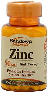 Sundown Naturals High Potency Zinc 50 mg, Tablets, 100 tablets (Pack of 6)