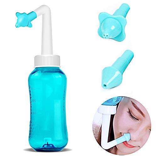 Nasendusche Set, Nasenspü lung 300ml, Erwachsene Nasenspü lkanne, Nasenreinigung, 2 verschiedene Aufsä tze zur effektiven Nasenreinigung, Nasendusche bei Erkä ltung Schnupfen Allergie Trockene Nase TOPARTOO