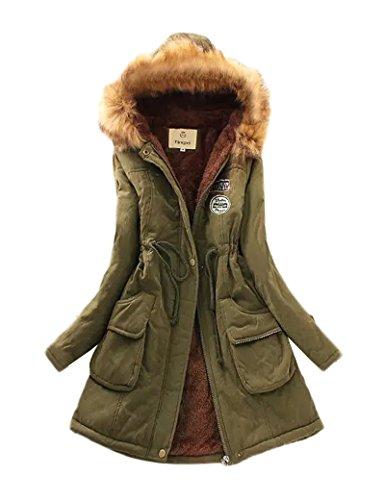 Gran tamaño Ocio Casual abrigo las mujeres de Militarygreen L