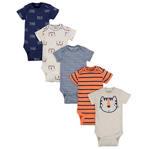 Gerber Baby Boys' 5-Pack Variety Onesies Bodysuits, Happy Tiger, 0-3 Months