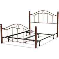 Cassidy Complete Bed with Metal Panels and Dark Walnut Wood Posts, Mink Finish, King