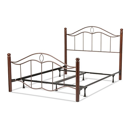 Cassidy Complete Bed with Metal Panels and Dark Walnut Wood Posts, Mink Finish, California King (Allen Bed Wesley Set)