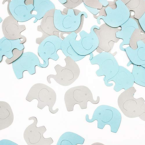 Blue Elephant 100 pcs Confetti Elephant Scatter Baby Shower Decoration for Boy Baby Shower Birthday Party Supplies Elephant Theme Party Supplies (Blue+Gray)]()