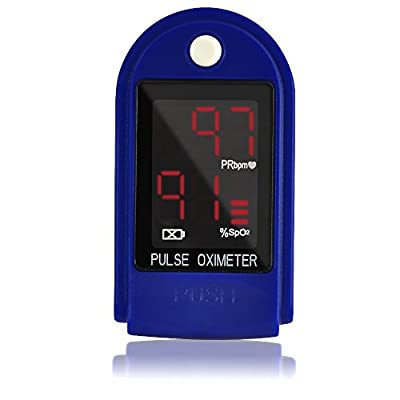 AccuMed CMS-50DL Finger Pulse Oximeter Blood Oxygen SpO2 Sports and Aviation Monitor w/Carrying case, Lanyard Silicon Case & Battery (Blue)