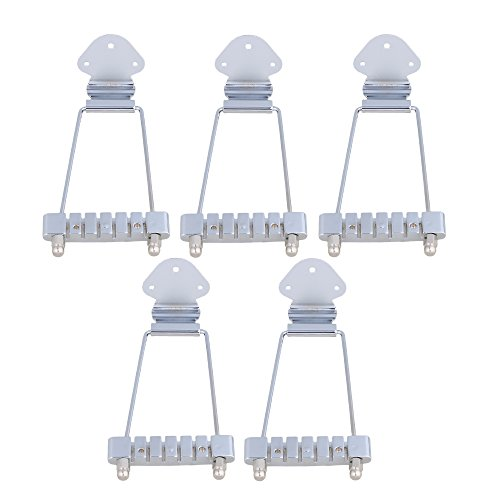 Mxfans Chrome 10mm Spacing 6-String Electric Guitar Tailpiece Bridge Set of 5 by Mxfans