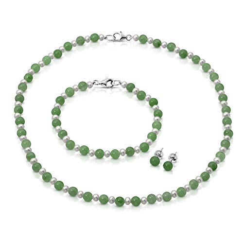 Regalia by Ulti Ramos Sterling Silver Jade and Freshwater Cultured Pearl Necklace, Bracelet, and Stud Earrings Jewelry Set (20.0) ()