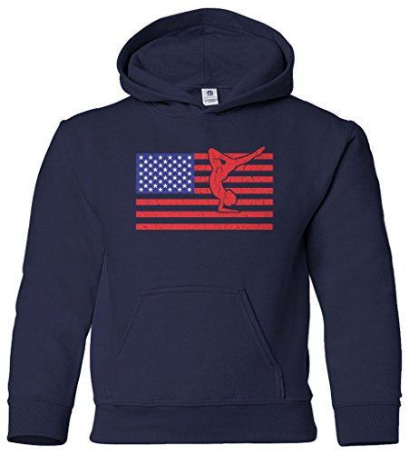 Threadrock Big Girls' American Flag Gymnast Youth Hoodie Sweatshirt L Navy