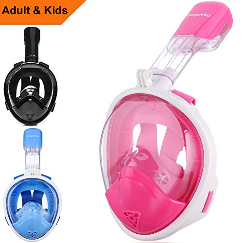 Snorkel Mask Kids, Sea view 180 degree Easy Breathe Full Face Snorkeling Mask for Children, Anti-Fog and Anti-Leak - Blue, Pink, Black (2017 Kid Version) ()