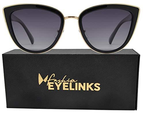PZ Polarized - Women Cat Eye Metal Bridge Design Sunglasses (Blk-Gd-Smoke)