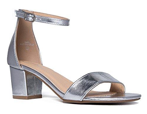 Daisy Mid Heel Sandal, Silver PU, 5.5 B(M) US