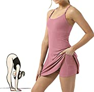 2021 New Women's Tennis Dress Exercise Workout,Sleeveless Built-in with Bra & Shorts Pocket,2 in 1 Ten