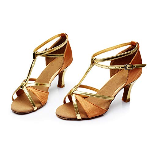 Estándar Performance Yudesun Latinos Salón Calzado Mujer Informal Salsa Baile Hebilla Práctica Mujeres 7cm Deportes Danza Brillos Aire Zapatos Bailarina Marrón Tango Libre 6xBAFrq76w