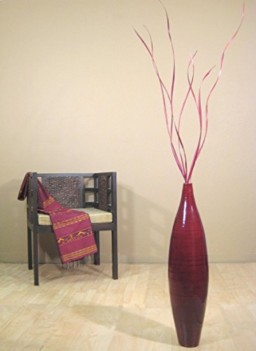 GreenFloralCrafts 30 Inch Bamboo Elipse Floor Vase (Floral Not Included) - Mahogany Red- SUPER SALE!