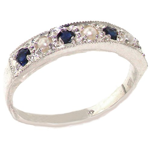 925 Sterling Silver Cultured Pearl and Sapphire Womens Band Ring - Sizes 4 to 12 Available ()
