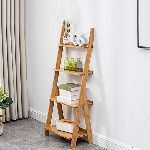 D&LE Bambú Escalera Librería,4 Niveles Inclinada Estantería ...