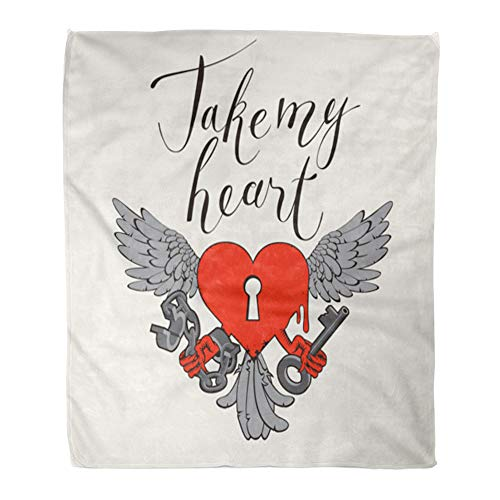 Emvency Decorative Throw Blanket 60 x 80 Inches Valentines Day with Lock in The Shape of Heart Wings Key and Open Handcuffs Warm Flannel Soft Blanket for Couch Sofa Bed