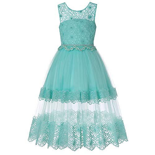 HUAANIUE Girl Pageant Party Dress Sleeveless Lace Flower Girl Ball Gown Green 11-12 ()