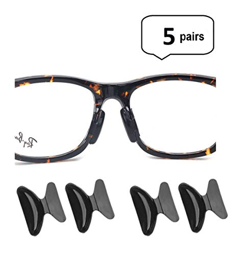 AM Landen 5 Pairs 2.5mm Black Non-Slip Silicone Stick on Nose Pads for Eyeglass Nose pad
