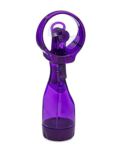 O2COOL Deluxe Misting Fan, Handheld Misting Fan, Battery Operated Fan, Water Spray Fan, Mini Portable Desk Fan, Personal Cooling Fan for Outdoor, Fine Mist Sprayer, Purple ()