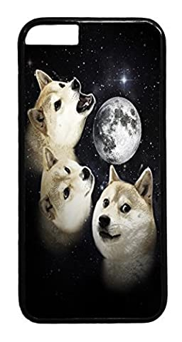 iPhone 6 Case, 6 Case - Scratch Resistant Black Hard Case Cover for iPhone 6 Three Doge Moon Absorption Hard Back Case Bumper for iPhone 6 4.7 (Doge Phone Cover)