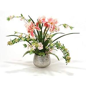 Distinctive Designs Pink Iris and Cherry Blossoms in Silver Super Nova Bowl 10