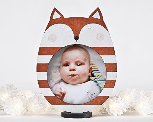 Baby picture frame, Fox Photo Frame, Orange Nursery Decor, Children Room Decor, Wooden Home Decor, Gift for New Parents, Baby Shower Gift, Newborn Gift
