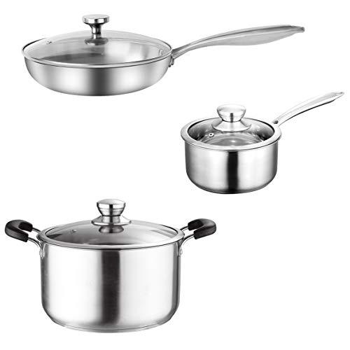 Kookgerei Set, Roestvrij Staal Pot & Pan Sets, Inductie Saucepan Set, Melk Pans Set,Fry Pan met Glas deksel Pot&Frying…