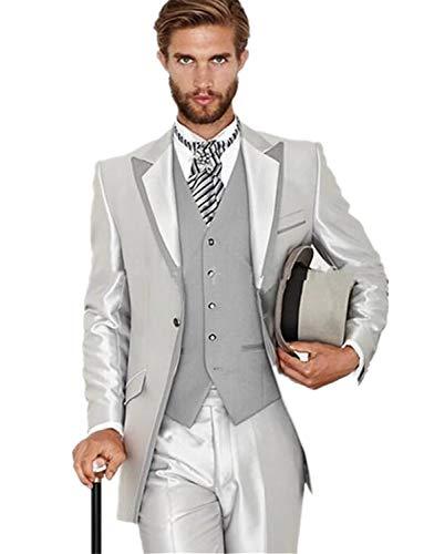 (Mens Vintage 3 Piece Tuxedos Tails Dinner Blazer Includes Tailcoat Vest& Formal Pants Silver)