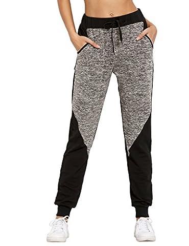 SweatyRocks Women Pants Colorblock Casual Tie Waist Yoga Jogger Pants (X-Large, black grey colorblock)
