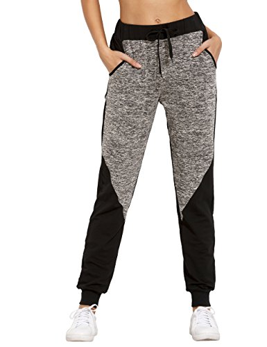 SweatyRocks Women Pants Colorblock Casual Tie Waist Yoga Jogger Pants, Black Grey Colorblock, Medium