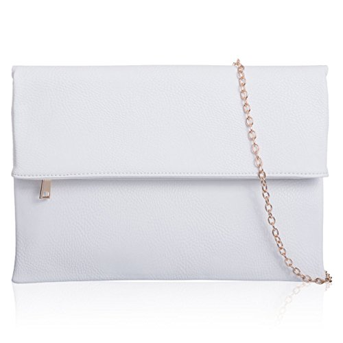 London Slouch Evening Prom Women Chain Large Makeup UK Xardi Long Ladies Foldover Clutch White Bags ATWdgdxRZn