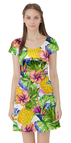 Manica 5xl Floreale Ibisco Corta Tropicali Estivi Hawaii Xs Abito Ibisco Plumeria Cowcow Fiori Ananas Womens Tropicali Foglie wqpPX65