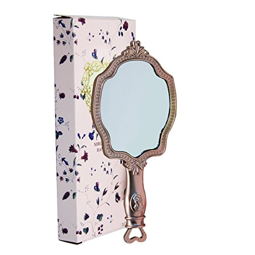 Girls Embossed Vintage Make-Up Hand Table Mirror Hand Held Makeup Mirror Princess Style Ideal Gift by KINGSEVEN (Image #1)