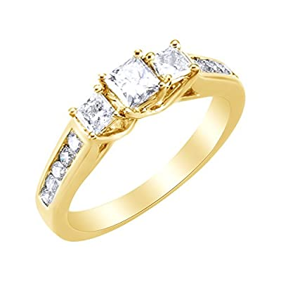 Hot White Natural Diamond Three Stone Engagement Ring in 14k Solid Gold (0.88 Cttw)