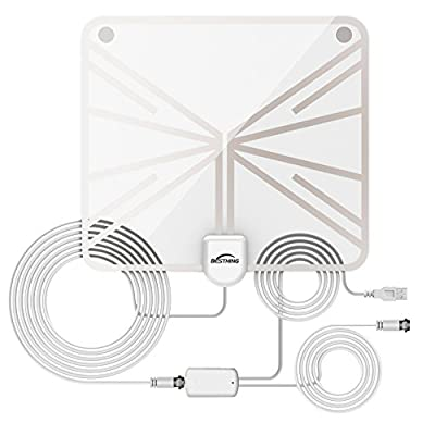 HDTV Antenna, BESTHING Indoor Amplified Digital TV Antenna 50 Mile Range with Detachable Amplifier Signal Booster, 13ft Coax Cable, USB Charger and Stand - Upgraded Version (Transparent)