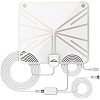 [2018 Newest] HD Digital TV Antenna, 55+ Miles Amplified Indoor TV Antenna – Support 4K 1080p with Amplifier Signal Booster & Power Adapter