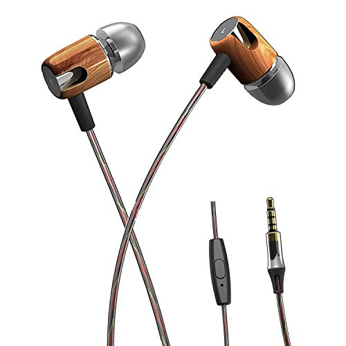 Sport Earbuds Wired, Stereo Bass in-Ear Headphones with Microphone Noise Isolating Earphones for Workout Exercise Gym, Sweatproof Running Headphones Compatible with iPhone, Samsung Cell Phones, Brown