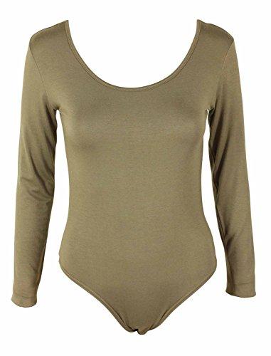 Nueva mujer de manga larga para Plain jersey elástico Leotardo Body Top UK tamaños 8–�?4 moca