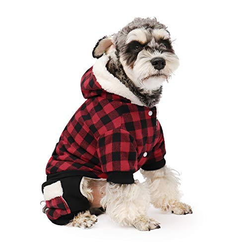 PAWZ Road Dog Plaid Coat Pet Winter Clothes Warm and Soft for Small and Medium Dogs Red L
