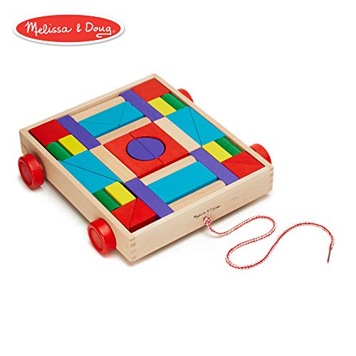 (Melissa & Doug Unit Blocks on Wheels - 36 Solid Wood Blocks with Pull-Along Cart on Wheels)