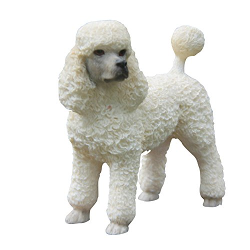 Zonstore Home Decor Dog Statue Standing Poodle Figurine,White