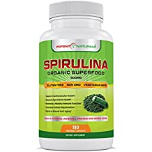 Spirulina 180 Vegetable Capsules/Pills By Potent Naturals: Organic Green Algae Superfood Supplement | Non-GMO, Gluten Free, Vegan | Rich in Protein, Vitamins, Minerals & Amino Acids | Made In USA