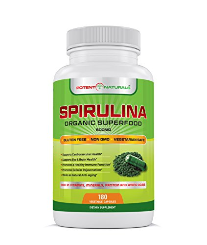 Organic Spirulina 180-Vegetable Capsules/Pills by Potent Naturals: Green Algae Superfood Supplement | Non-GMO, Gluten Free, Vegan | Rich in Protein, Vitamins, Minerals, Amino Acids | Made in USA