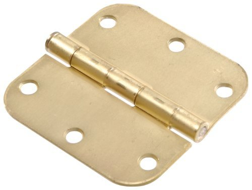 Brass Finish The Hillman Group 852610 3-1//2-Inch Residential Door Hinge with 5//8-Inch Round Corner Removable Pin Full Mortise Satin