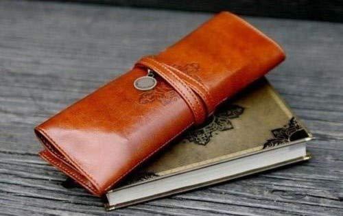 (utp Retro Portable Makeup Pen Pencil Case Roll Waterproof PU Leather Purse Pouch Pencil Bag Storage Bags School Office Supplies)