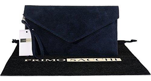 Italian Suede Leather Hand Made Navy Blue Envelope Design Clutch, Wrist, Shoulder or Crossbody Bag. Includes a Branded Protective Storage Bag