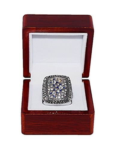 PITTSBURGH STEELERS (Terry Bradshaw) 1978 SUPER BOWL XIII WORLD CHAMPIONS Vintage Rare & Collectible Replica National Football League Silver NFL Championship Ring with Cherrywood Display Box