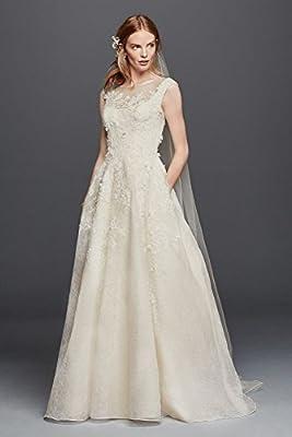 Oleg Cassini Off the Shoulder Lace Wedding Dress Style CWG730