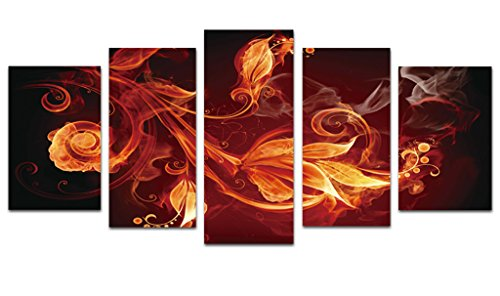 Wieco Art Inspirational Abstract Canvas Prints Wall Art Red Pictures Paintings for Living Room Bedroom Home Office Decorations Modern 5 Piece Stretched and Framed Contemporary Pretty Giclee Artwork